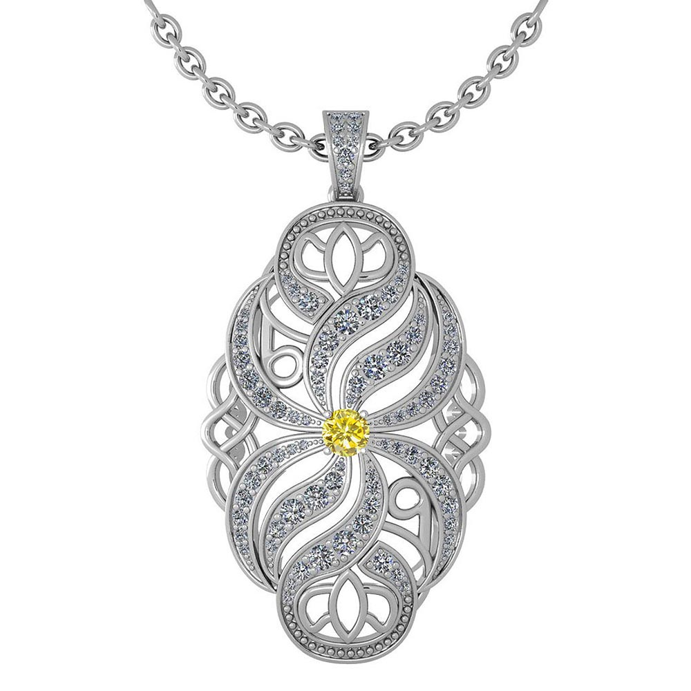 Certified 1.37 Ctw Treated Fancy Yellow Diamond And White Diamond Necklace For Styles Females 14k White Gold #1AC17586