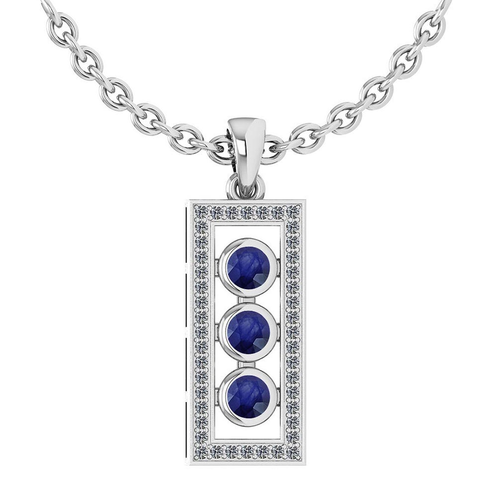 Certified 0.73 Ctw Blue Sapphire And Diamond Wedding/Engagement Style 14k White Gold Necklace #1AC17580