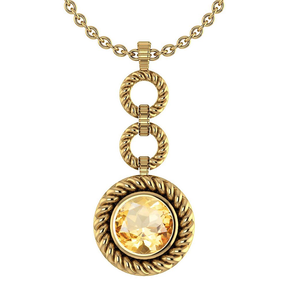 Certified 6.84 Ctw Citrine Necklace For womens New Expressions of Love collection 14K Yellow Gold #1AC17569