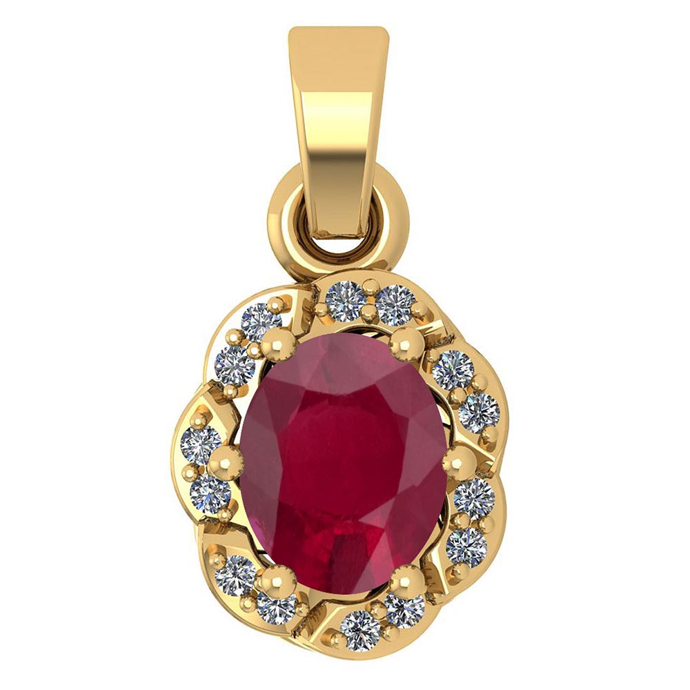 Certified 0.38 Ctw Ruby And Diamond 14k Yellow Gold Simple Pendant #1AC17574