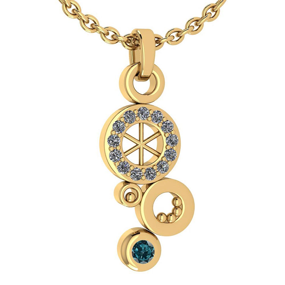 Certified 0.26 Ctw Treated Fancy Blue Diamond And White Diamond Octopus Styles Pendant For womens New Expressions nautical collection 14K Yellow Gold #1AC17565