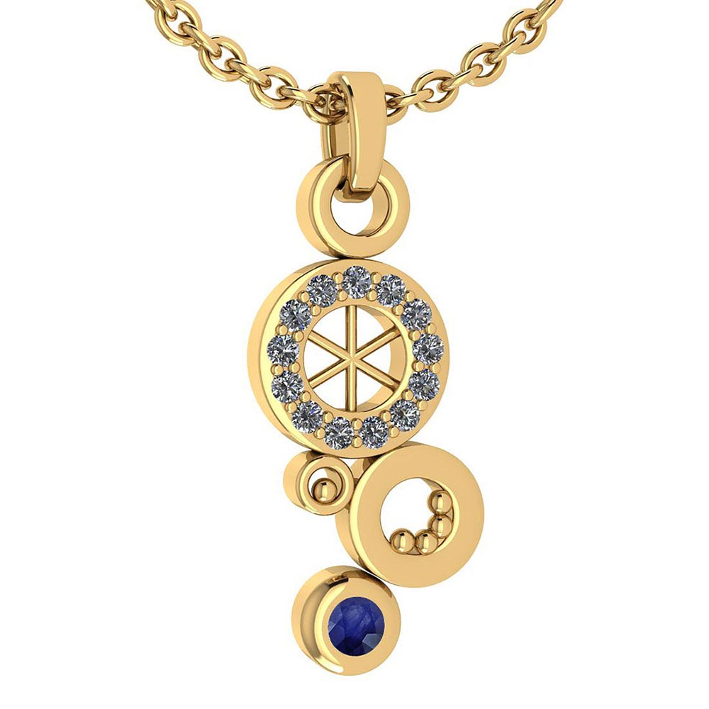Certified 0.26 Ctw Blue Sapphire And Diamond Octopus Styles Pendant For womens New Expressions nautical collection 14K Yellow Gold #1AC17563