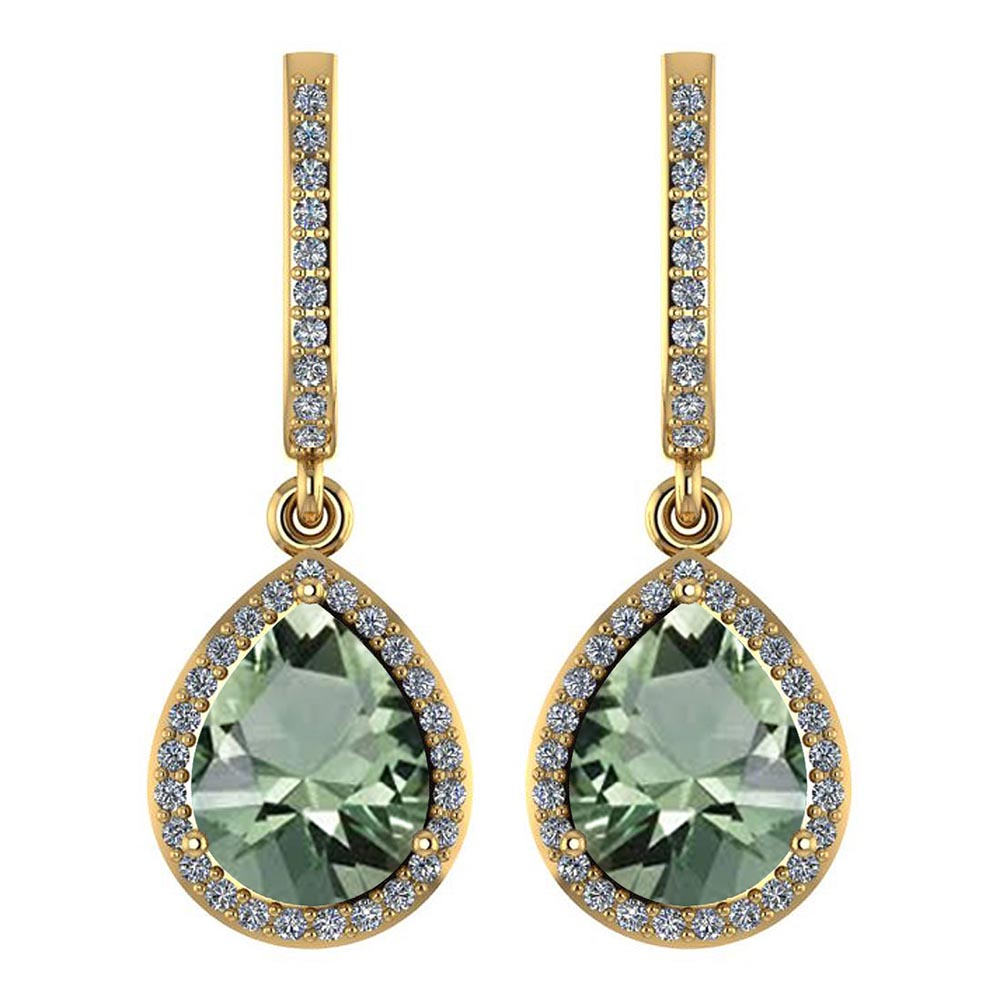 Certified 4.35 Ctw Green Amethyst And Diamond Wedding/Engagement Style 14K Yellow Gold Drop Earrings #1AC17589