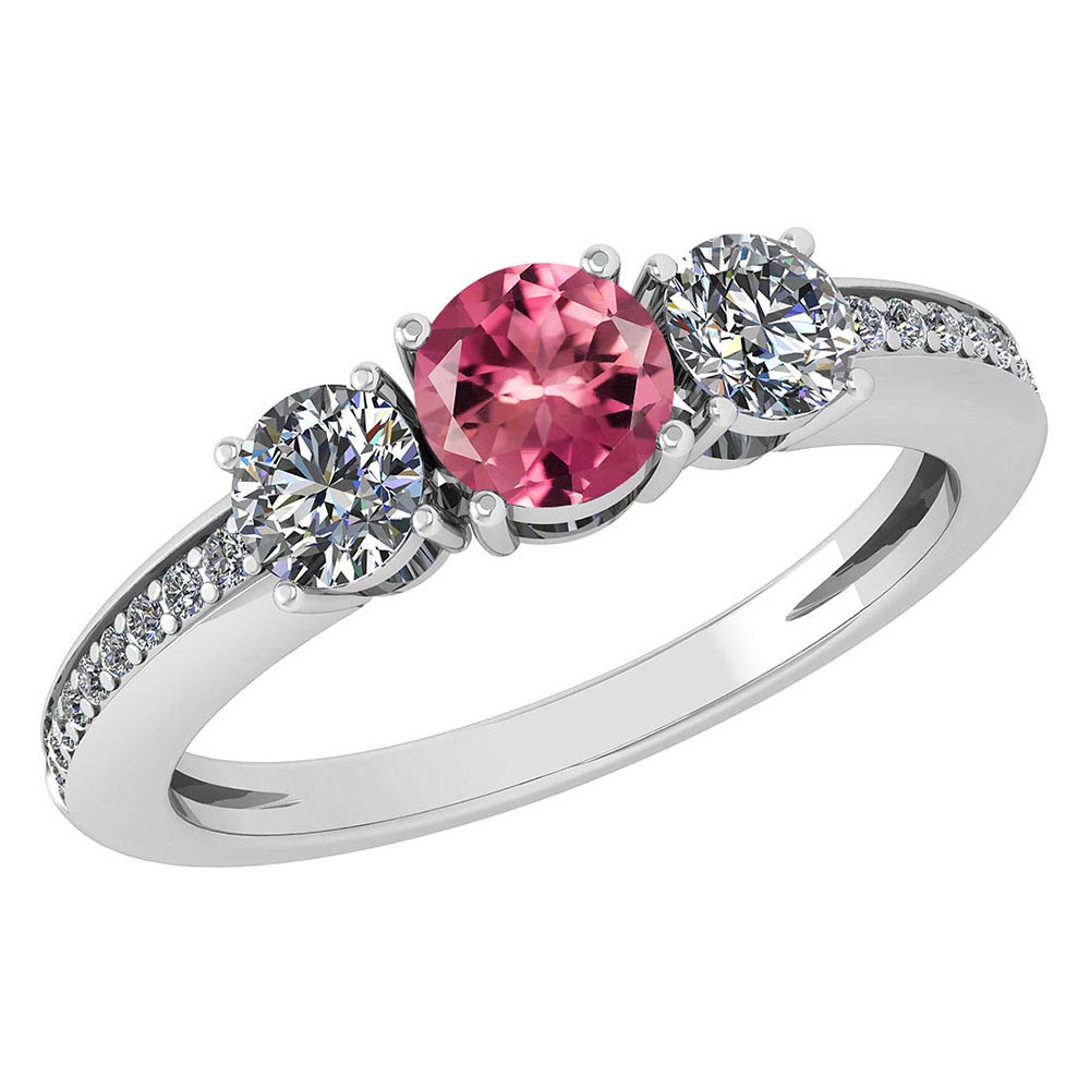 Certified 1.06 Ctw Pink Tourmaline And Diamond Wedding/Engagement Style 14k White Gold Halo Rings #1AC17581
