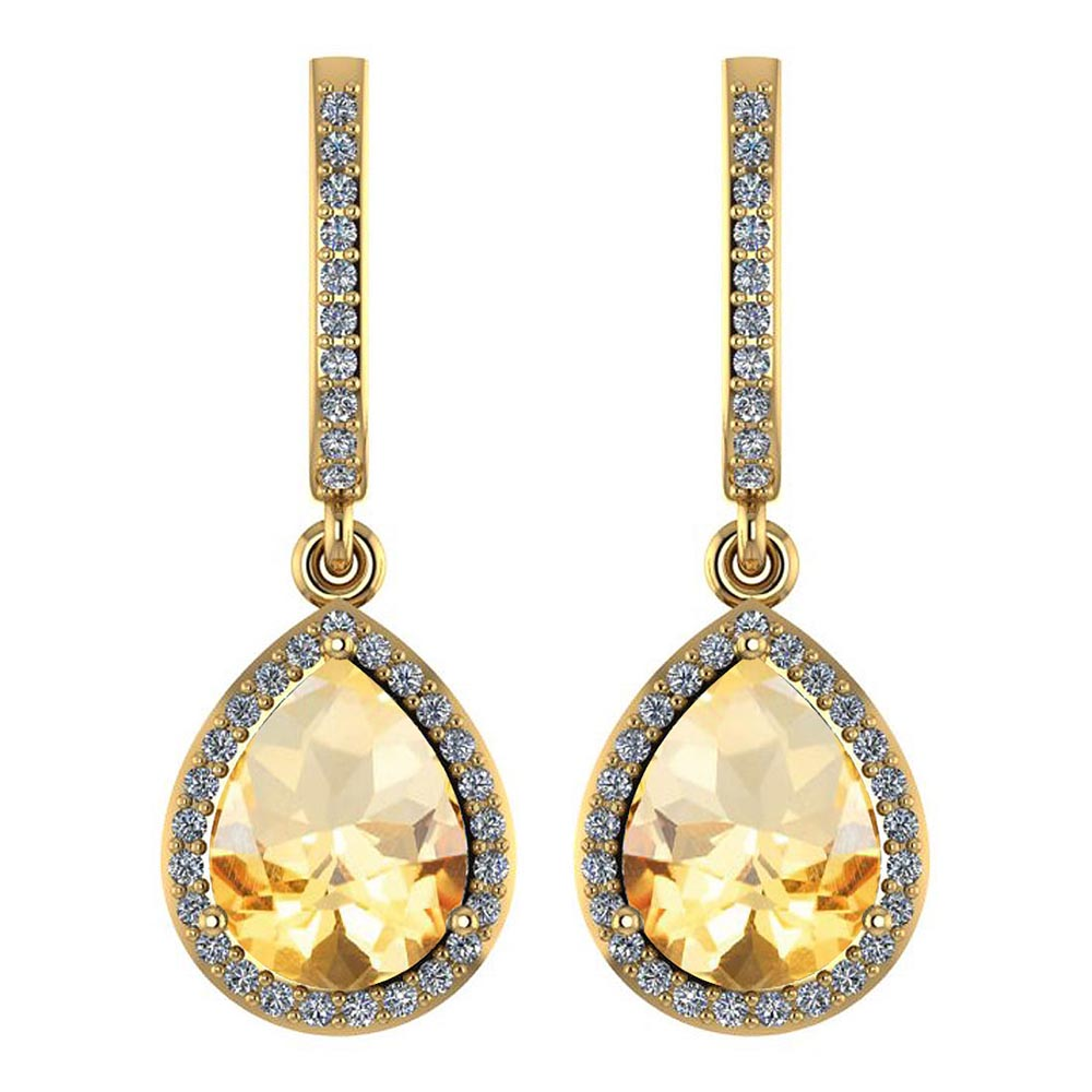 Certified 4.35 Ctw Citrine And Diamond Wedding/Engagement Style 14K Yellow Gold Drop Earrings #1AC17591