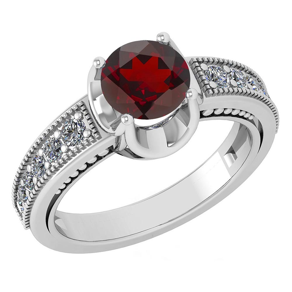 Certified 1.48 Ctw Garnet And Diamond Wedding/Engagement Style 14k White Gold Halo Rings #1AC17599