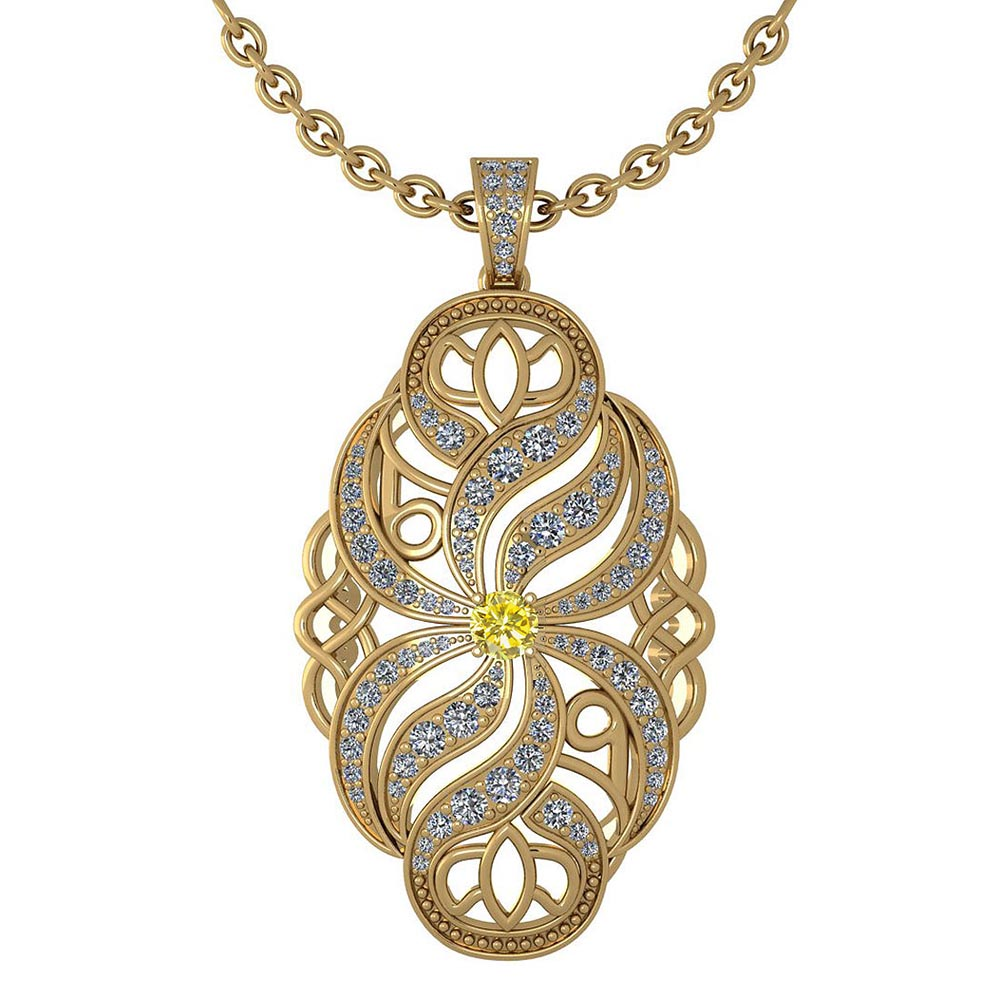 Certified 1.37 Ctw Treated Fancy Yellow Diamond And White Diamond Necklace For Styles Females 14k Yellow Gold #1AC17577