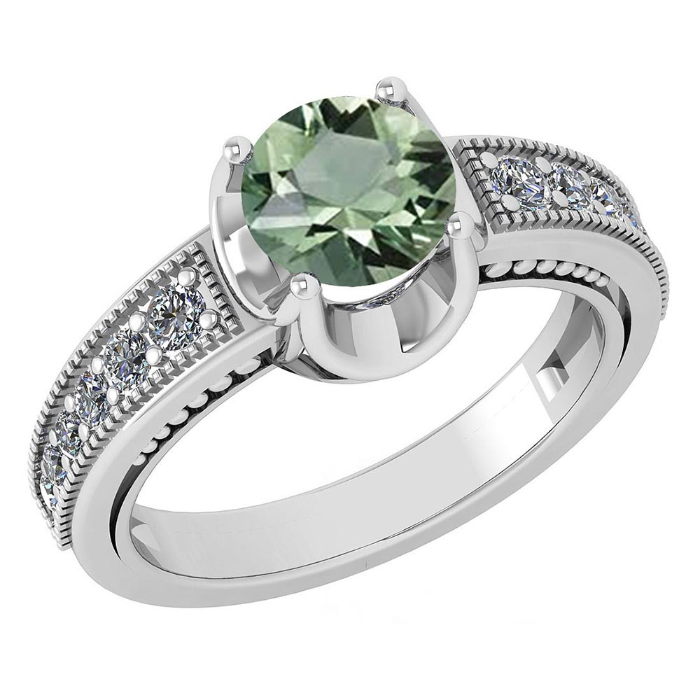 Certified 1.48 Ctw Green Amethyst And Diamond Wedding/Engagement Style 14k White Gold Halo Rings #1AC17597