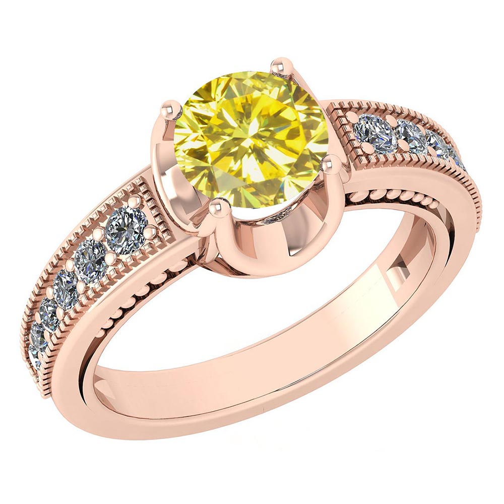 Certified 1.48 Ctw Treated Fancy Yellow Diamond And Diamond Wedding/Engagement Style 14k Rose Gold Halo Rings #1AC17607