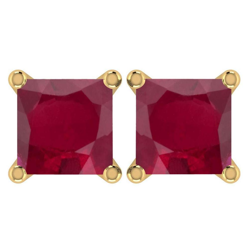 Certified 6.00Ctw Genuine Ruby 14K Yellow Gold Stud Earrings Made In USA #1AC97128