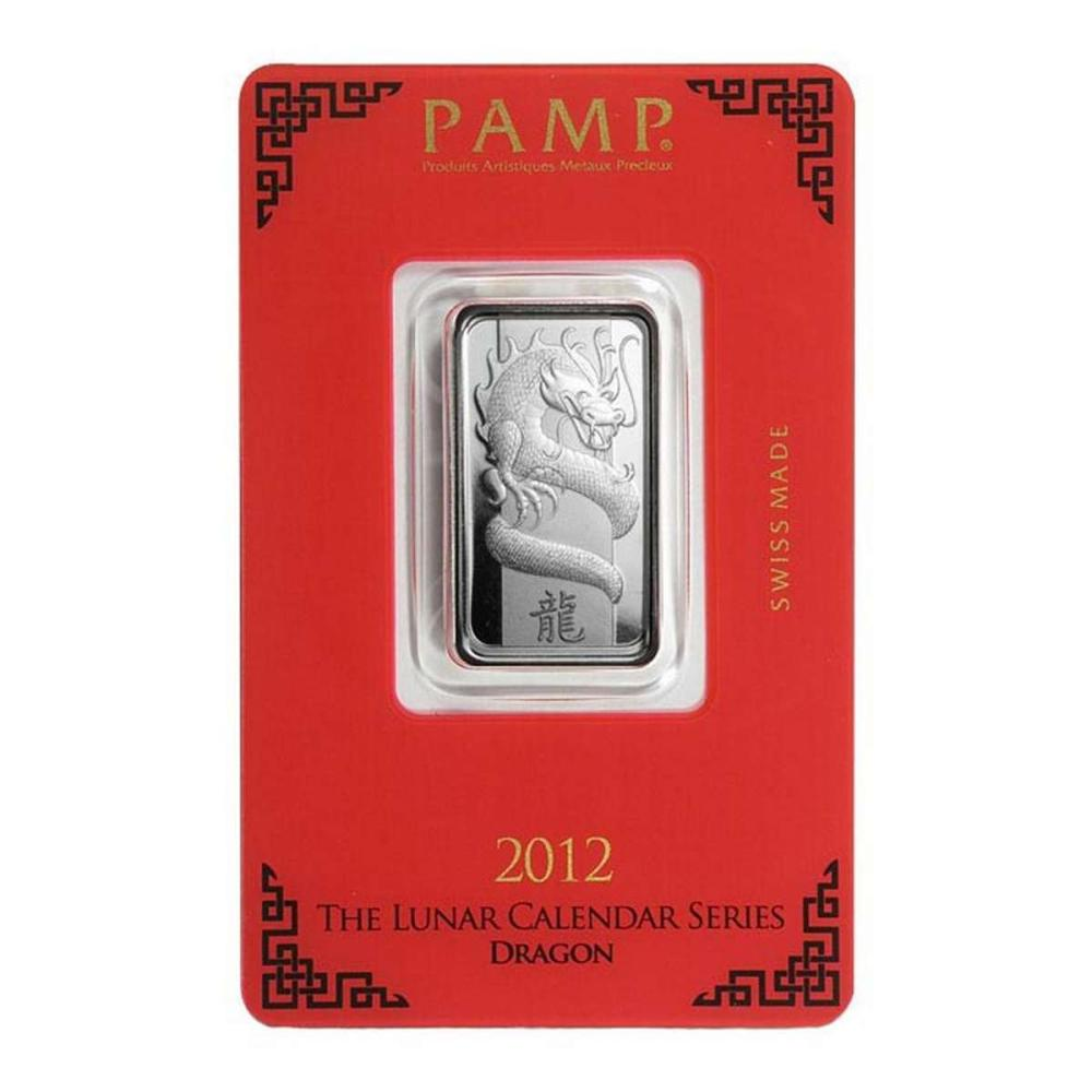 PAMP Suisse Silver Bar 10 Gram - 2012 Dragon Design #1AC96591
