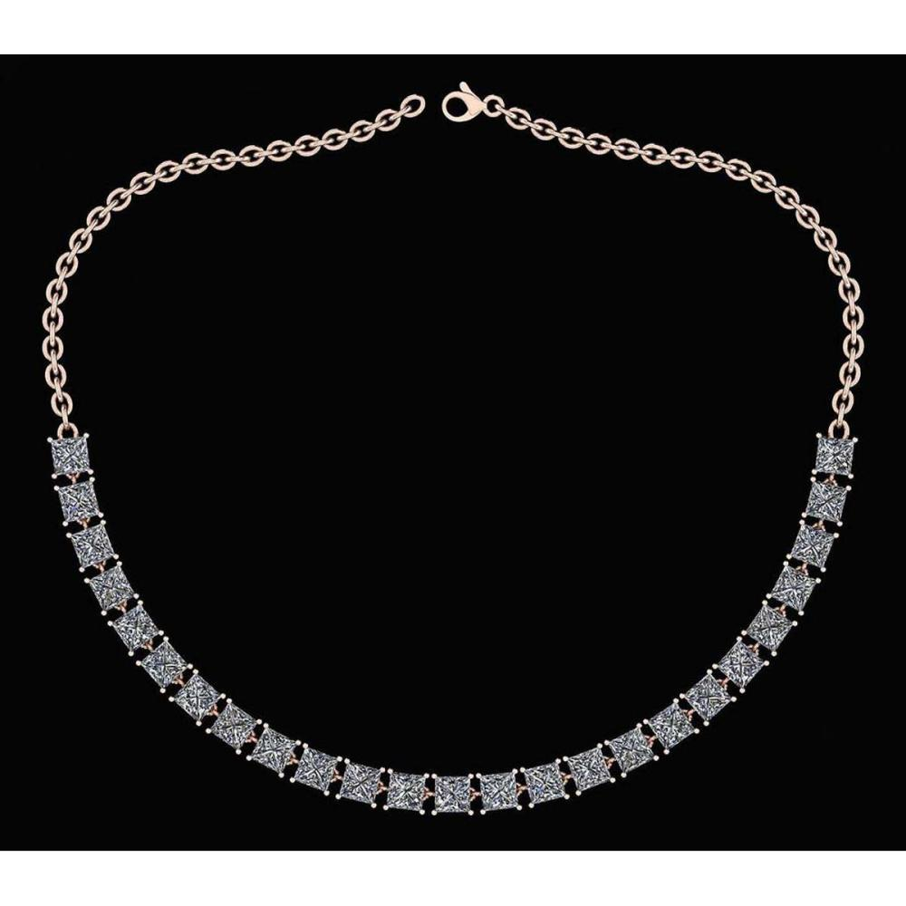 Certified 18.75 Ctw Diamond Necklace For Ladies 14K Rose Gold (I1/I2) #1AC19321