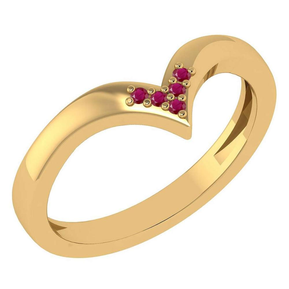 Certified 0.03Ctw Ruby And Diamond 14k Yellow Gold Band Made In USA #1AC97395