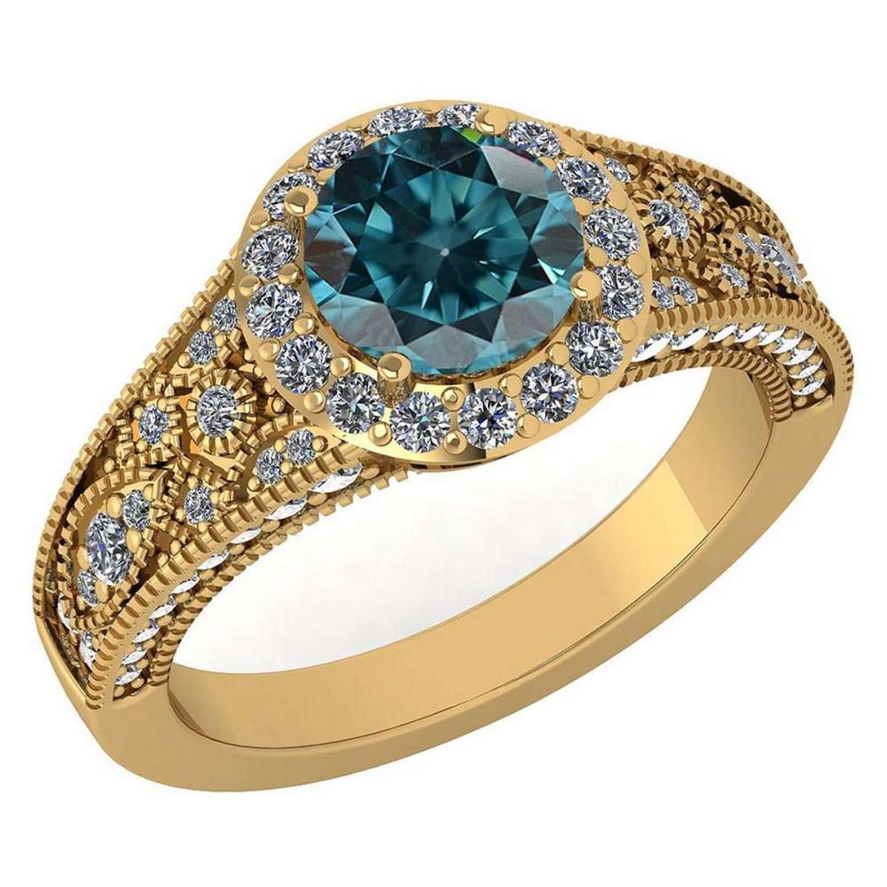 Certified 1.89 Ctw Treated Fancy Blue Diamond And White Diamond Wedding/Engagement Style 14K Yellow Gold Halo Ring (SI2/I1) #1AC18654