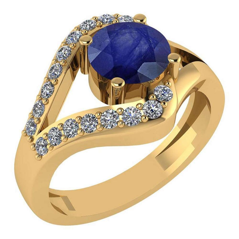 Certified 1.04 Ctw Blue Sapphire And Diamond Wedding/Engagement Style 14K Yellow Gold Halo Ring (VS/SI1) #1AC18690