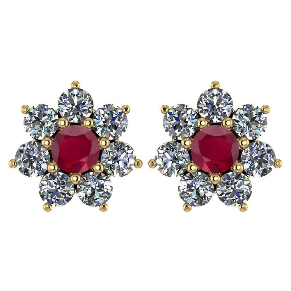 Certified 1.86 Ctw Ruby And Diamond 14k Yellow Gold Halo Stud Earrings #1AC97435