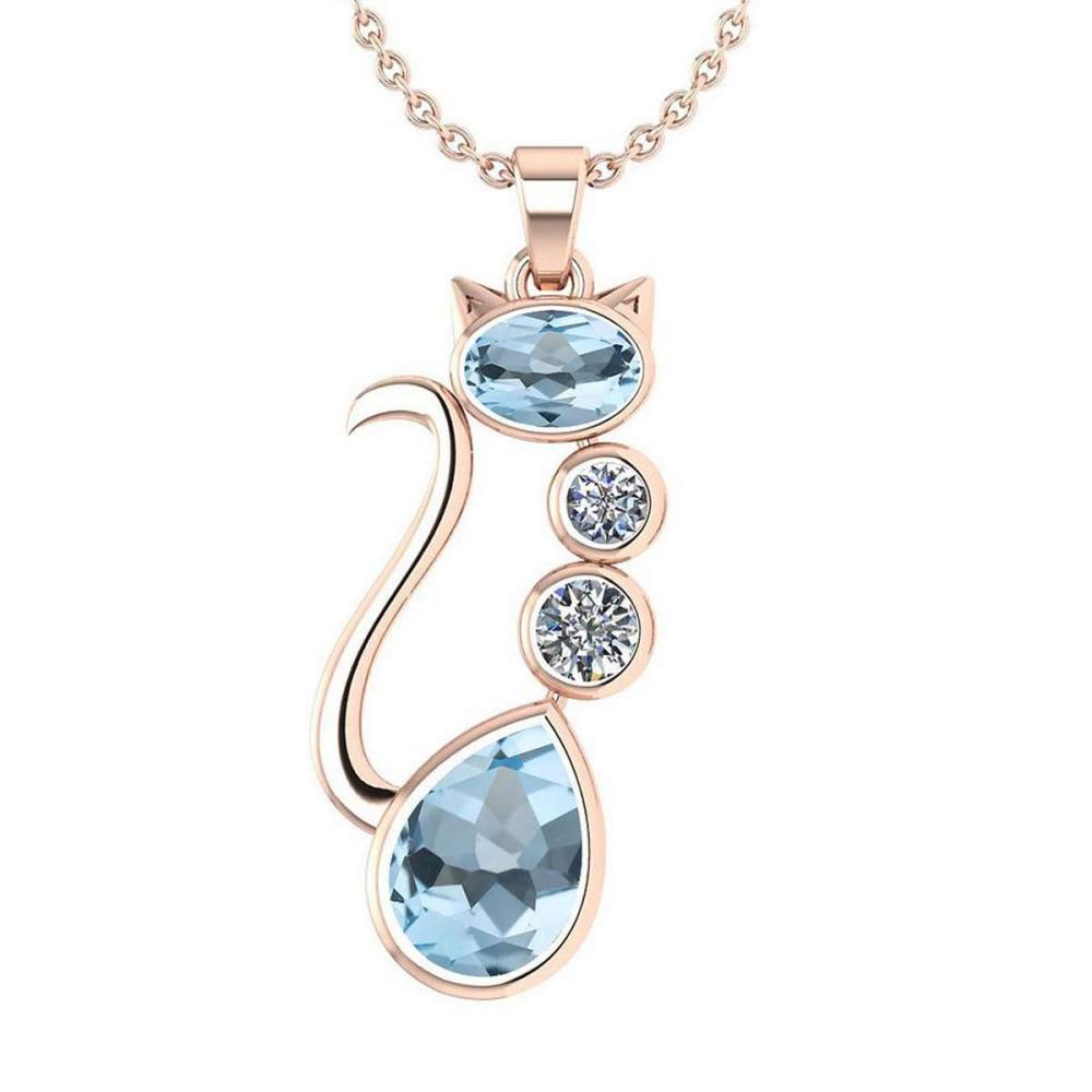 Certified 2.67 Ctw Aquamarine And Diamond 14K Rose Gold Halo Cat Necklace (VS/SI1) #1AC19418