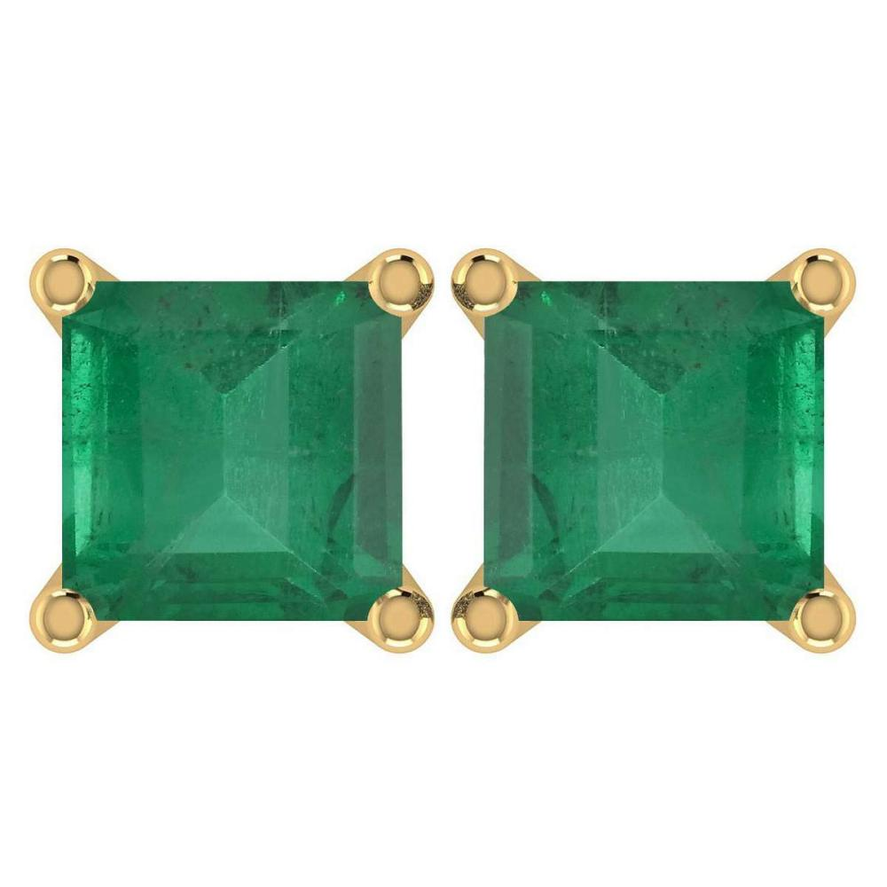 Certified 6.00Ctw Genuine Emerald 14K Yellow Gold Stud Earrings Made In USA #1AC97129