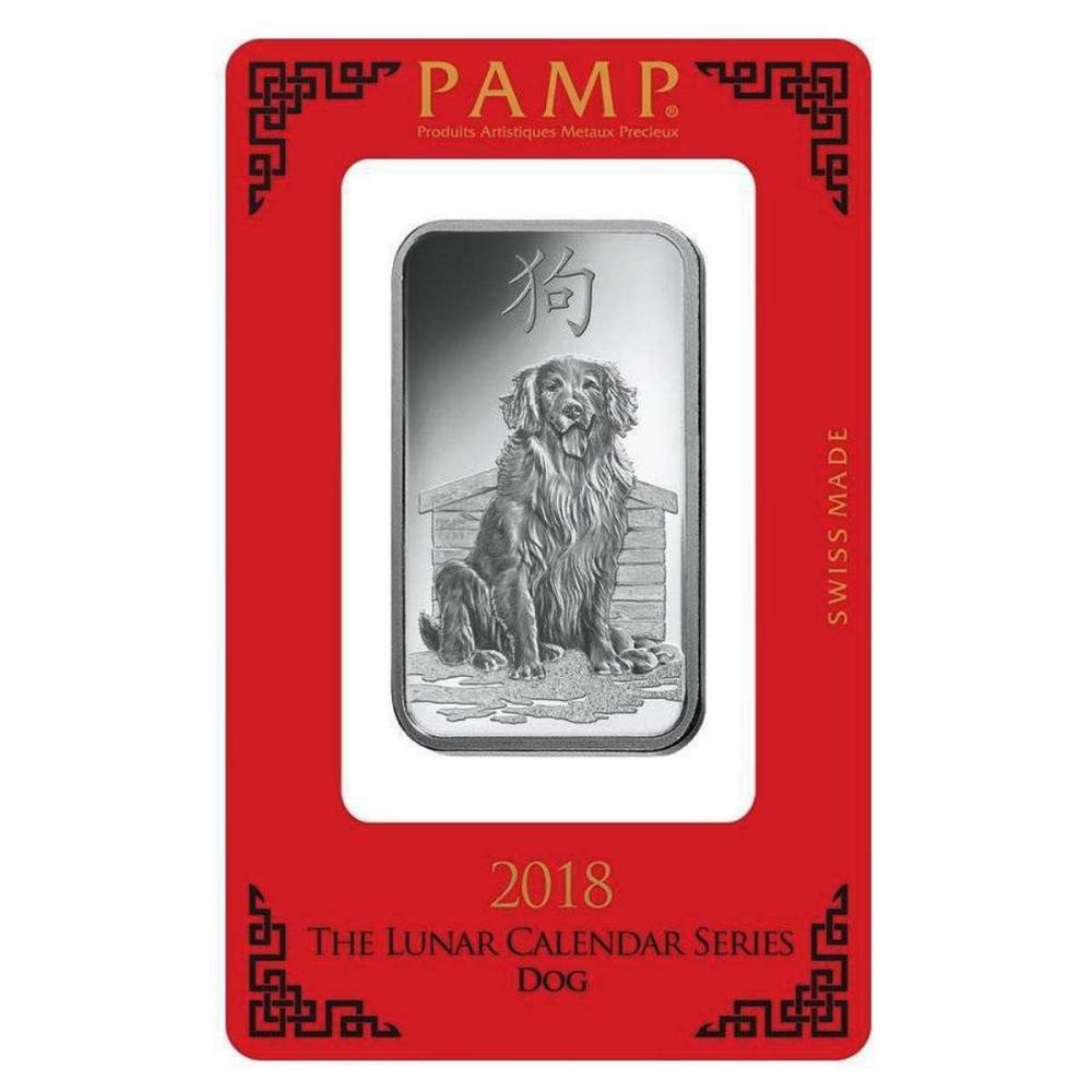 PAMP Suisse Silver Bar 1 oz - 2018 Dog Design #1AC96592