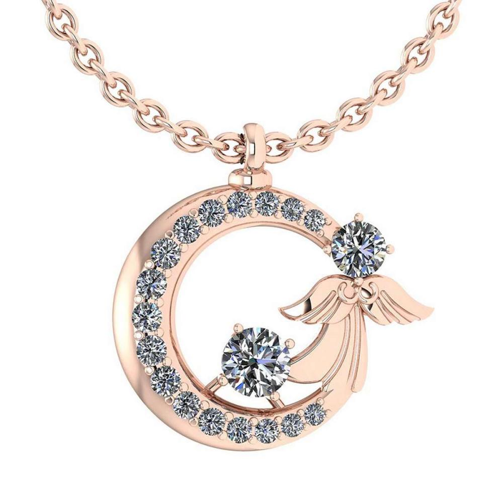 Certified 1.14 Ctw Diamond Tiny Angel Necklace For womens New Expressions love collection 14K Rose Gold (VS/SI1) #1AC19204