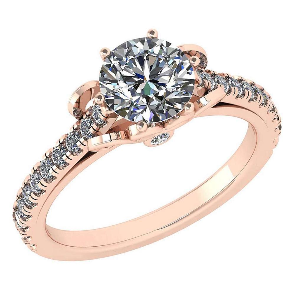 Certified 1.58 Ctw Diamond Halo Ring For Engagement New Expressions love collection 14K Rose Gold (SI2/I1) #1AC19222