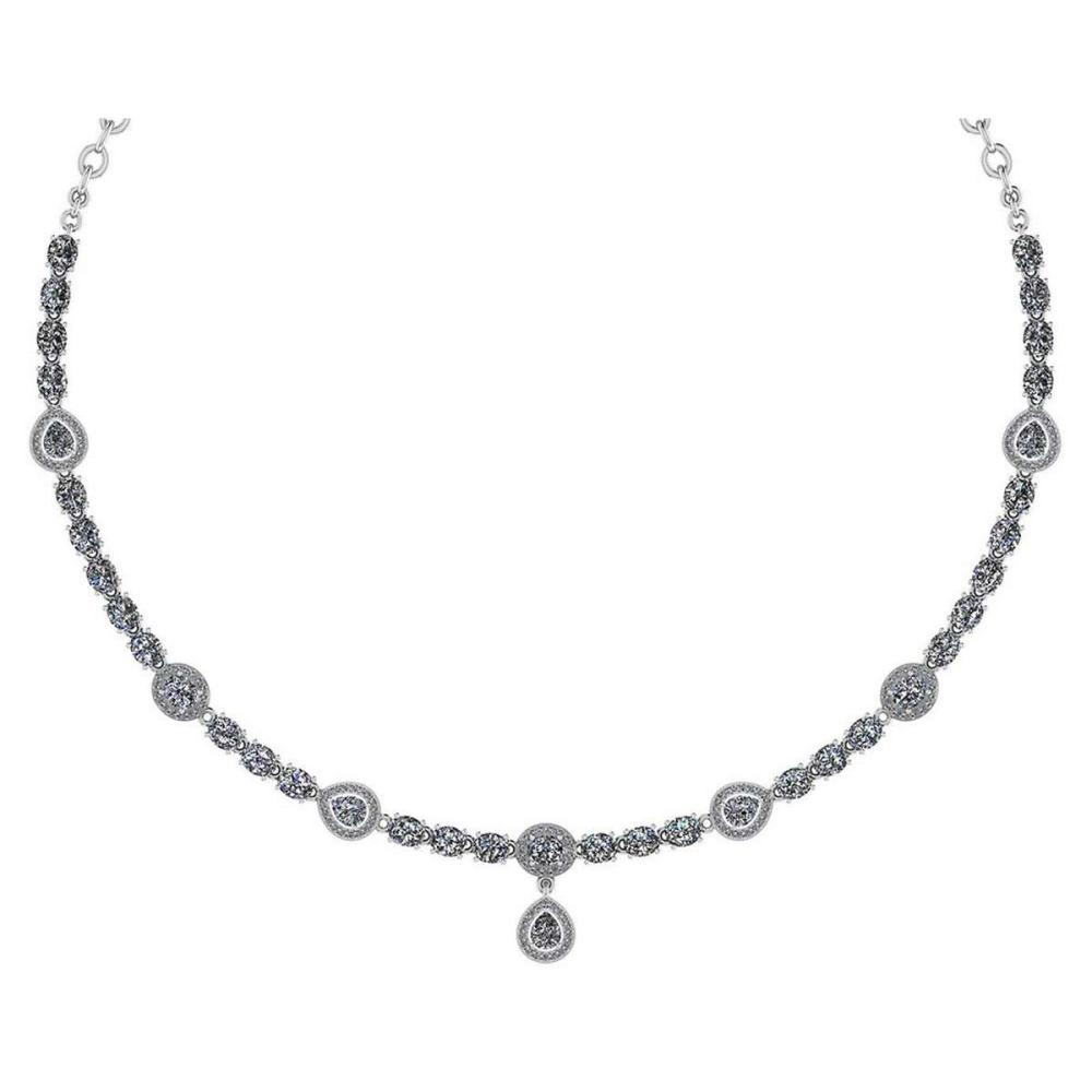 Certified 18.49 Ctw Diamond Necklace For Ladies 14K White Gold (SI2/I1) #1AC19332