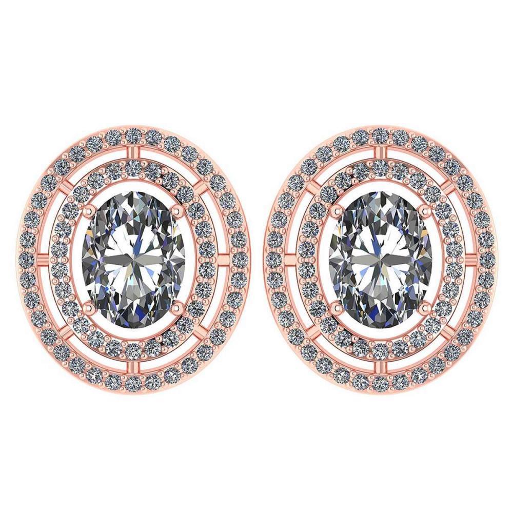Certified 3.12 CTW Diamond 14k Rose Gold Halo Stud Earrings #1AC98750