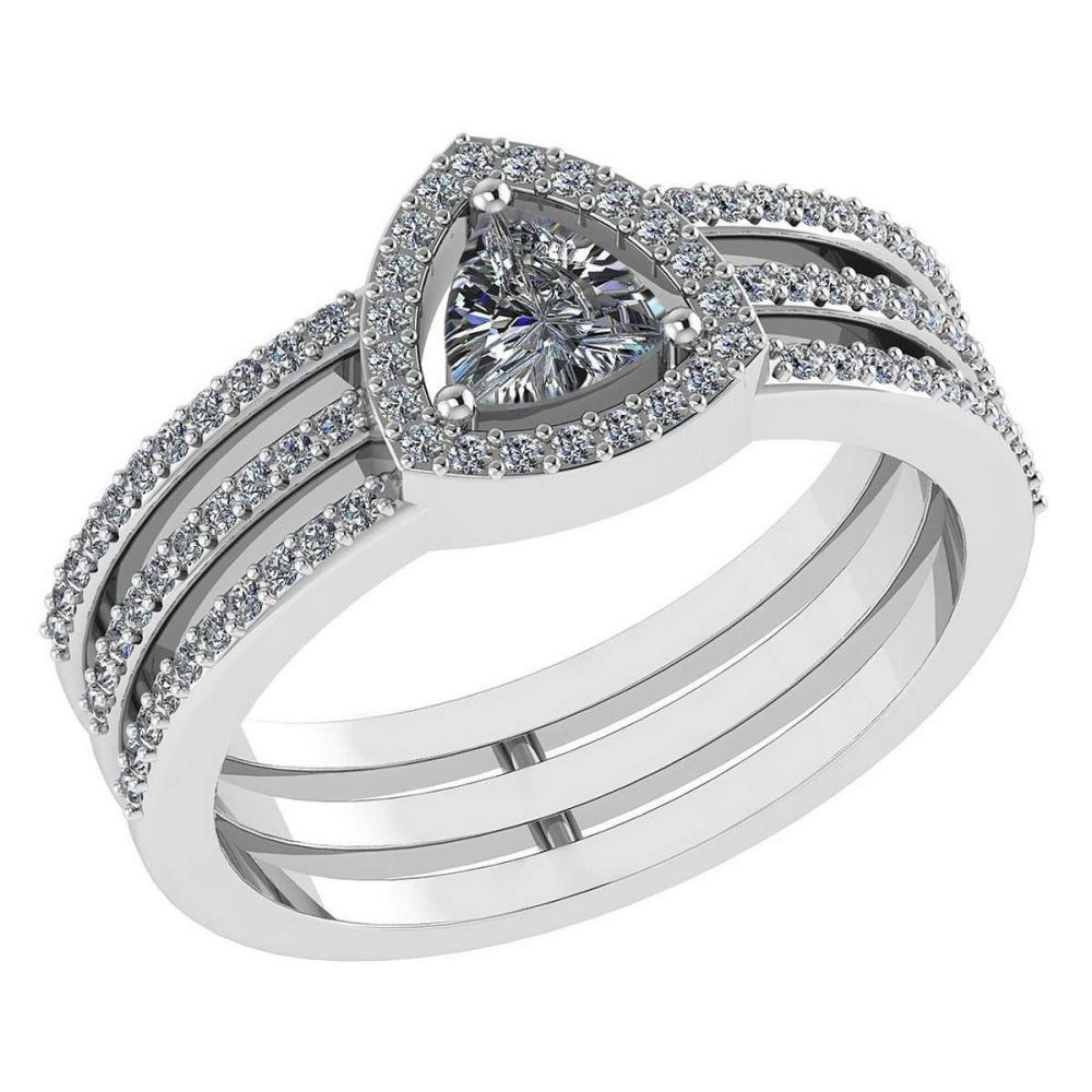 Certified 0.91 Ctw Diamond 14k White Gold Halo Anniversary Ring Made In USA #1AC97377