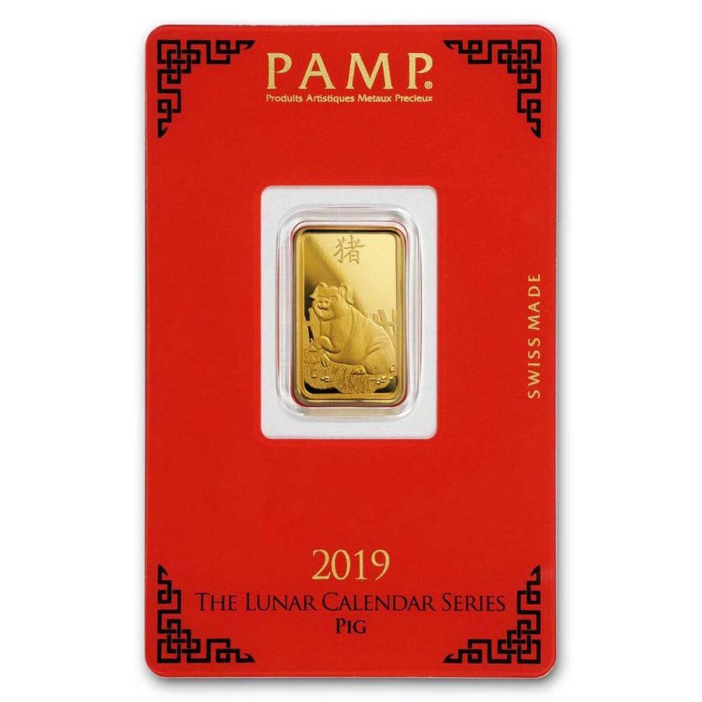 PAMP Suisse 5 Gram Gold Bar 2019 - Pig Design #1AC96465