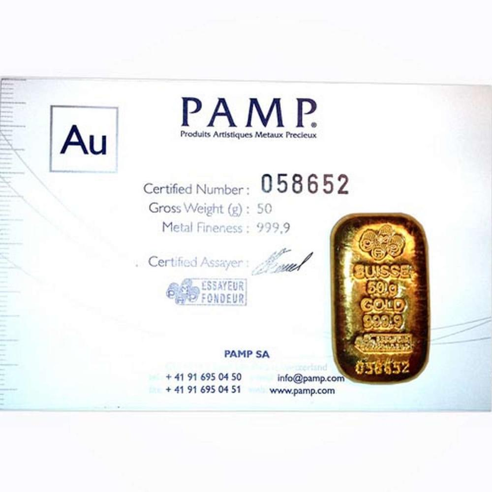 PAMP Suisse 50 Gram Gold Bar - Poured Design #1AC96475