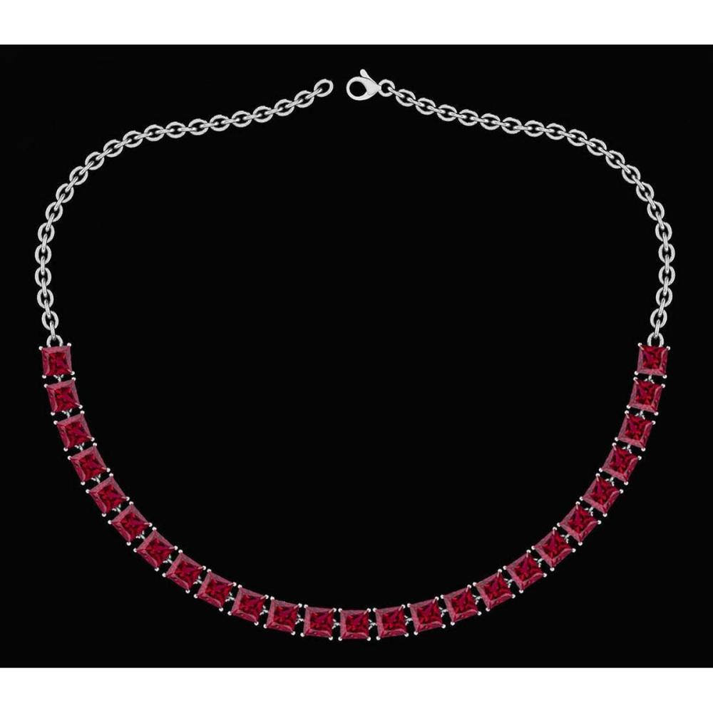Certified 18.75 Ctw Garnet Princess Shape Necklace For womens 21st Century New collection 14K White Gold #1AC18750