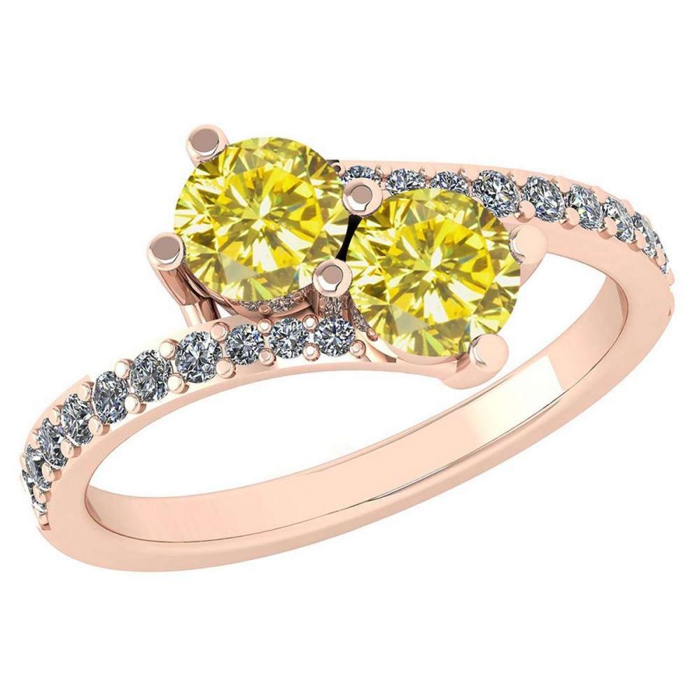Certified 1.24 Ctw Treated Fancy Yellow Diamond And White Diamond Wedding/Engagement Style 14K Rose Gold Halo Ring (SI2/I1) #1AC18659