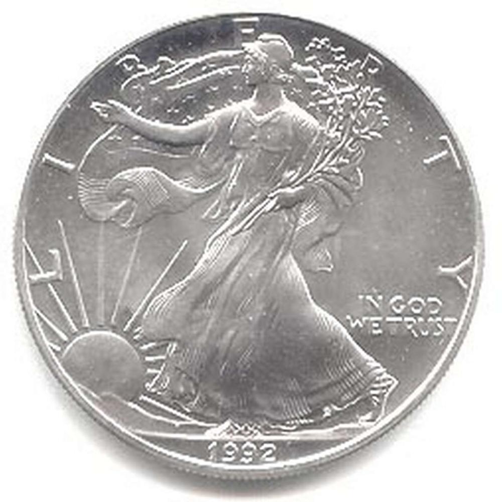 1992 1 oz Silver American Eagle BU #1AC96657