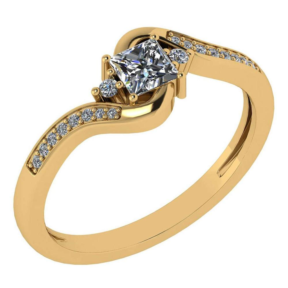 Certified 0.51 Ctw Diamond 14k Yellow Gold Halo Promise Ring Made In USA #1AC97373