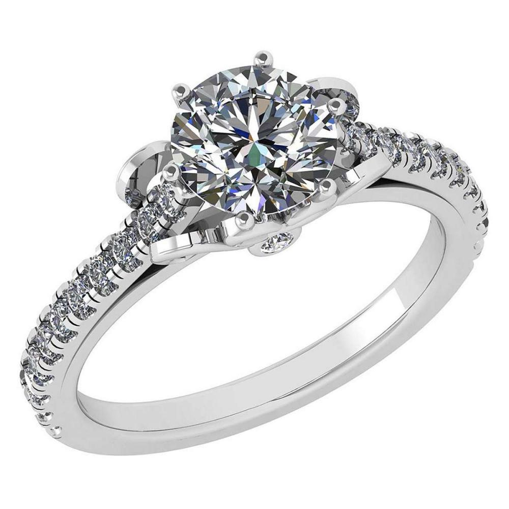 Certified 1.58 Ctw Diamond Halo Ring For Engagement New Expressions love collection 14K White Gold (SI2/I1) #1AC19223