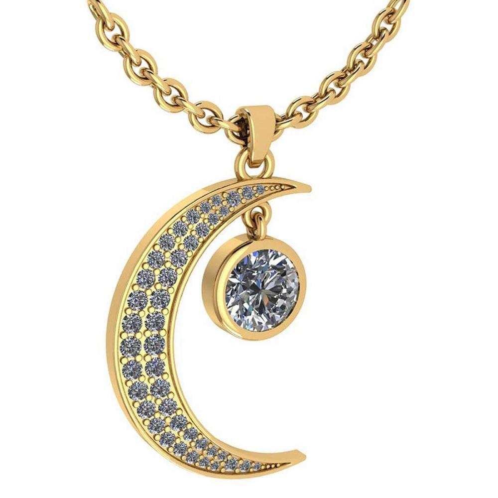 Certified 1.76 Ctw Diamond Moon Necklace For womens New Expressions Love collection 14K Yellow Gold (SI2/I1) #1AC19194