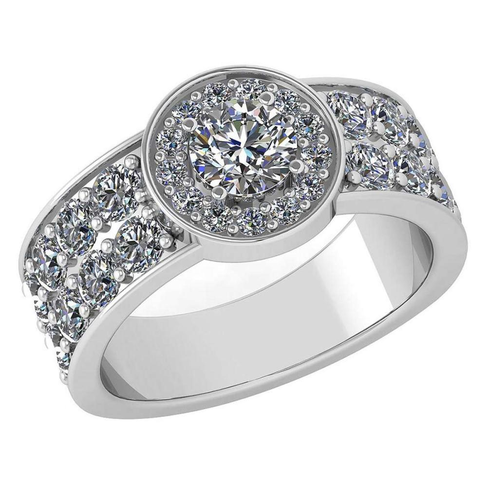 Certified 1.92 Ctw Diamond Halo Ring For Engagement New Expressions love collection 14K White Gold (VS/SI1) #1AC19230