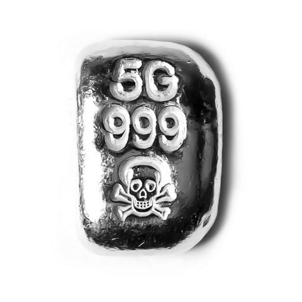 5 Gram Atlantis Skull and Crossbones Hand Poured Silver Bar #1AC96543