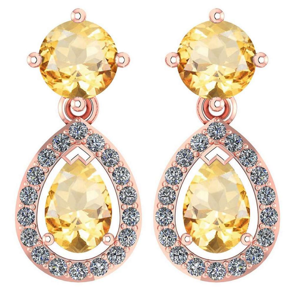 Certified 2.19 CTW Citrine And Diamond 14k Rose Gold Halo Dangling Earrings #1AC98739