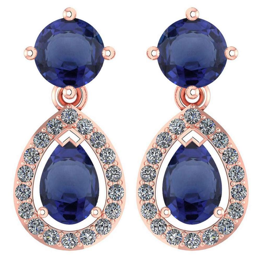Certified 2.19 CTWBlue Sapphire And Diamond 14k Rose Gold Halo Dangling Earrings #1AC98735
