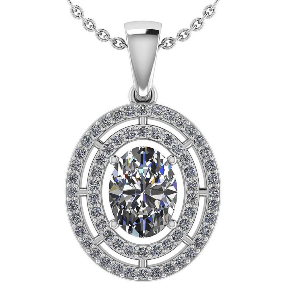 Certified 1.56 CTW Diamond 14k White Gold Halo Pendant #1AC98748