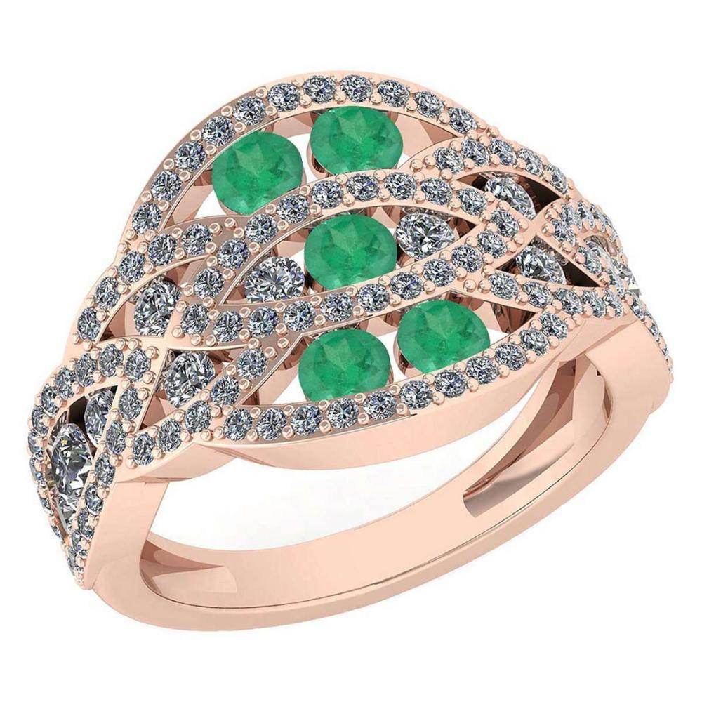 Certified 1.61 Ctw Emerald And Diamond Wedding/Engagement Style 14K Rose Gold Halo Ring (VS/SI1) #1AC19371