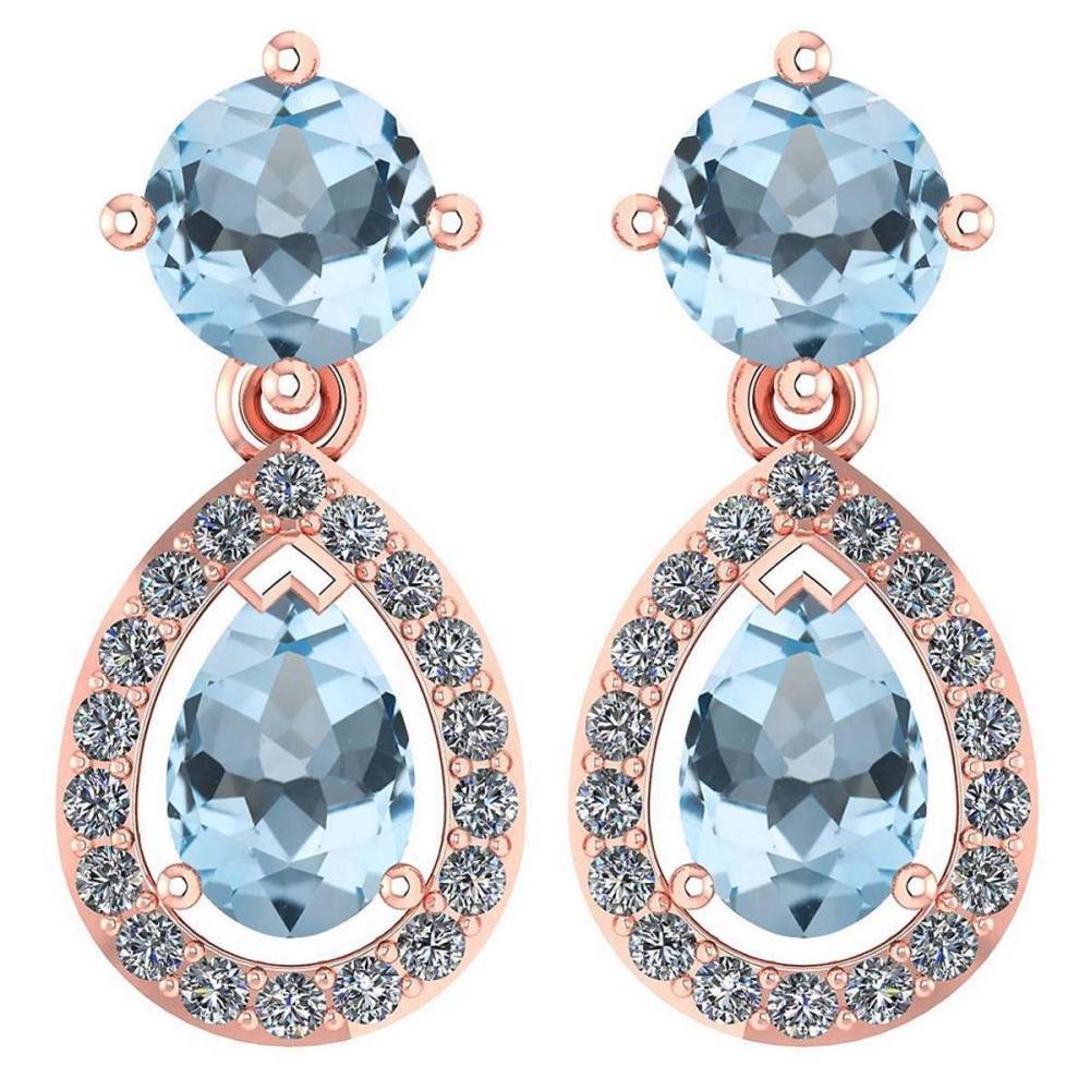 Certified 2.19 CTW Aquamarine And Diamond 14k Rose Gold Halo Dangling Earrings #1AC98734