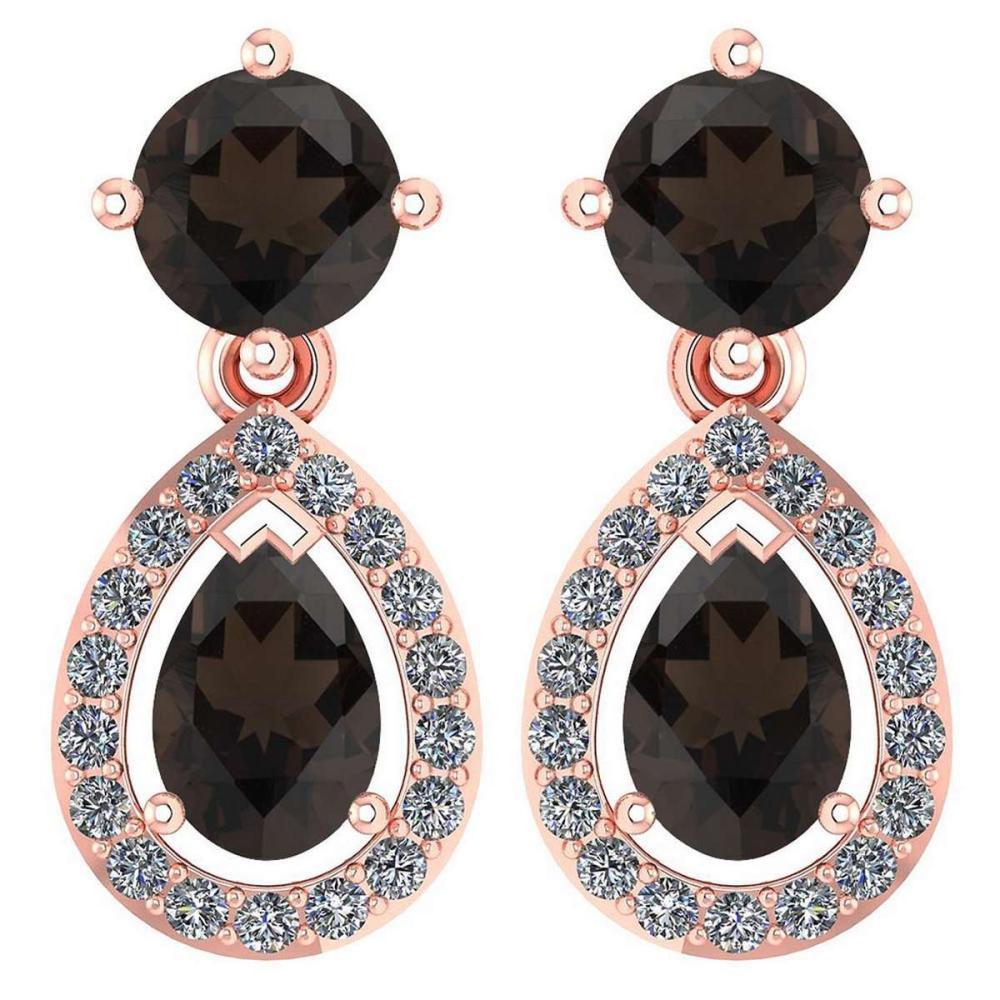 Certified 2.19 CTW Smoky Quarzt And Diamond 14k Rose Gold Dangling Earrings #1AC98741