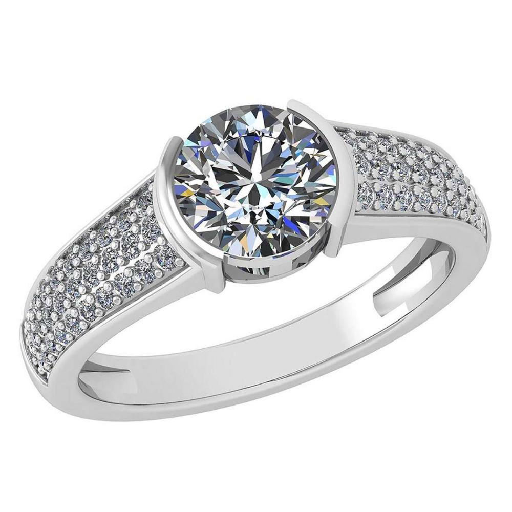 Certified 1.55 Ctw Diamond Halo Ring For Engagement New Expressions love collection 14K White Gold (SI2/I1) #1AC19218