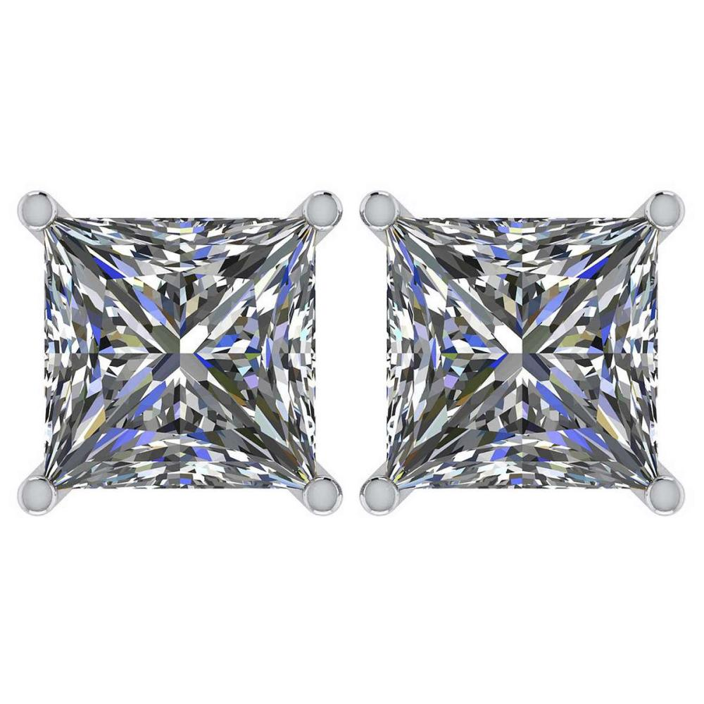 Certified 2.50 Ctw Diamond 14K White Gold Stud Earring Made In USA #1AC97360