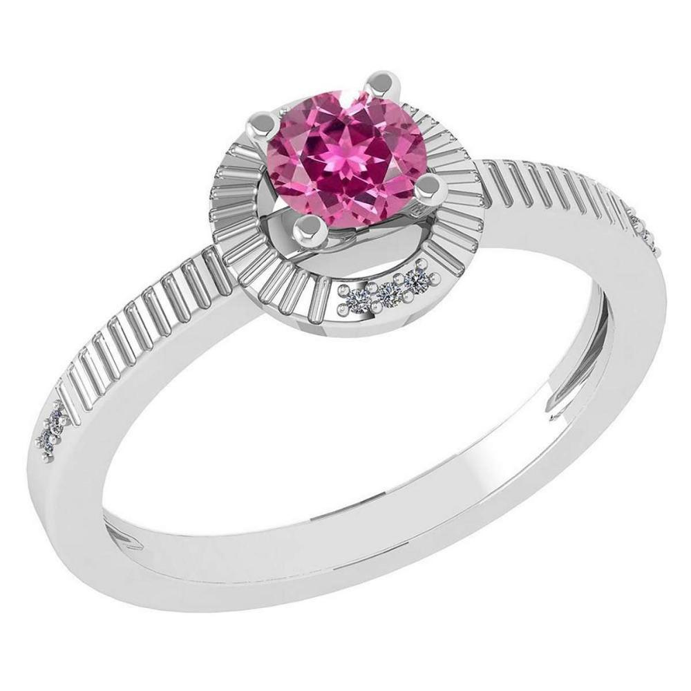 Certified 0.37 CTW Pink Tourmaline And Diamond 14k White Gold Halo Ring #1AC98578