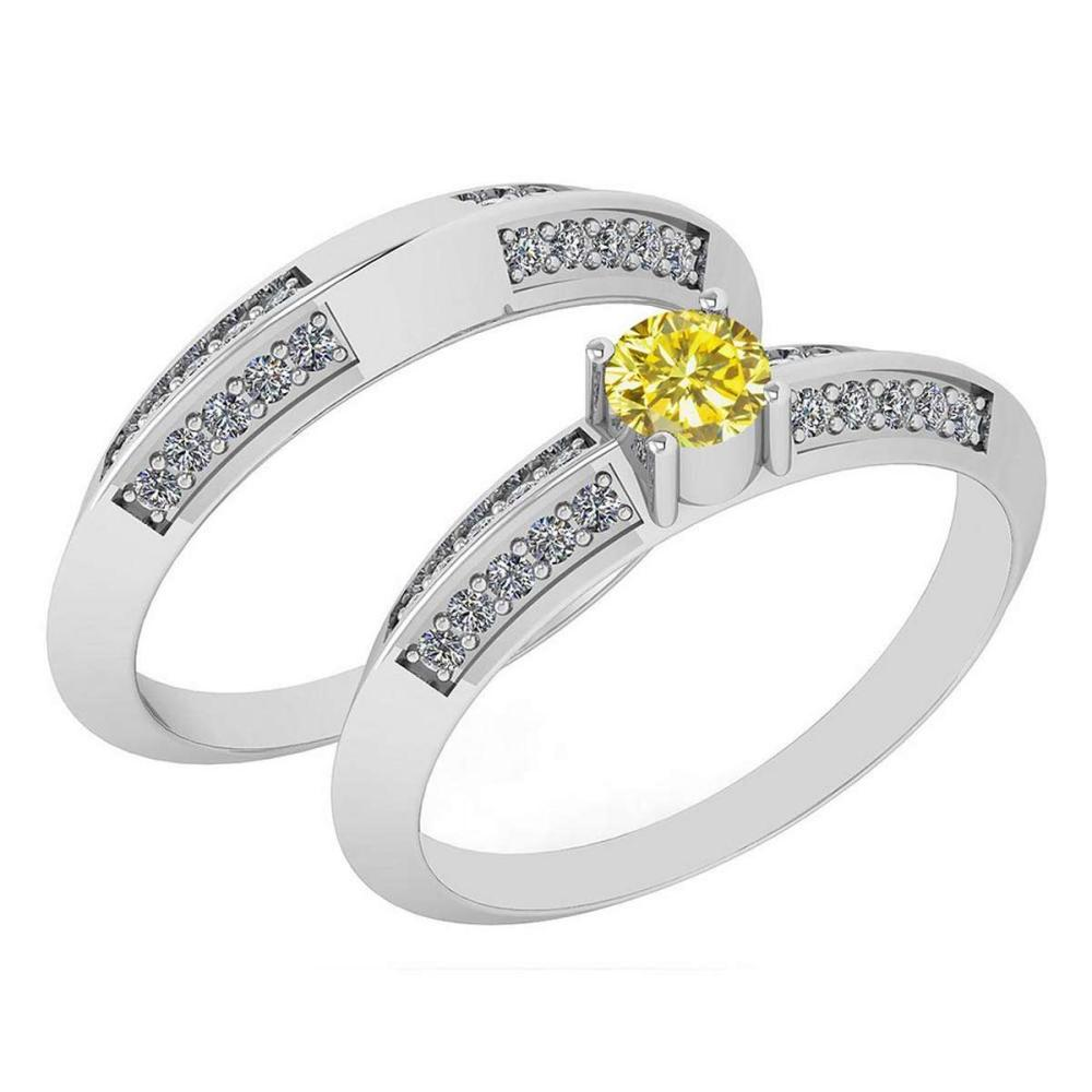 Certified .55 Ctw Treated Fancy Yellow Diamond And White Diamond Wedding/Engagement Style 14K White Gold Halo Ring (SI2/I1) #1AC18694