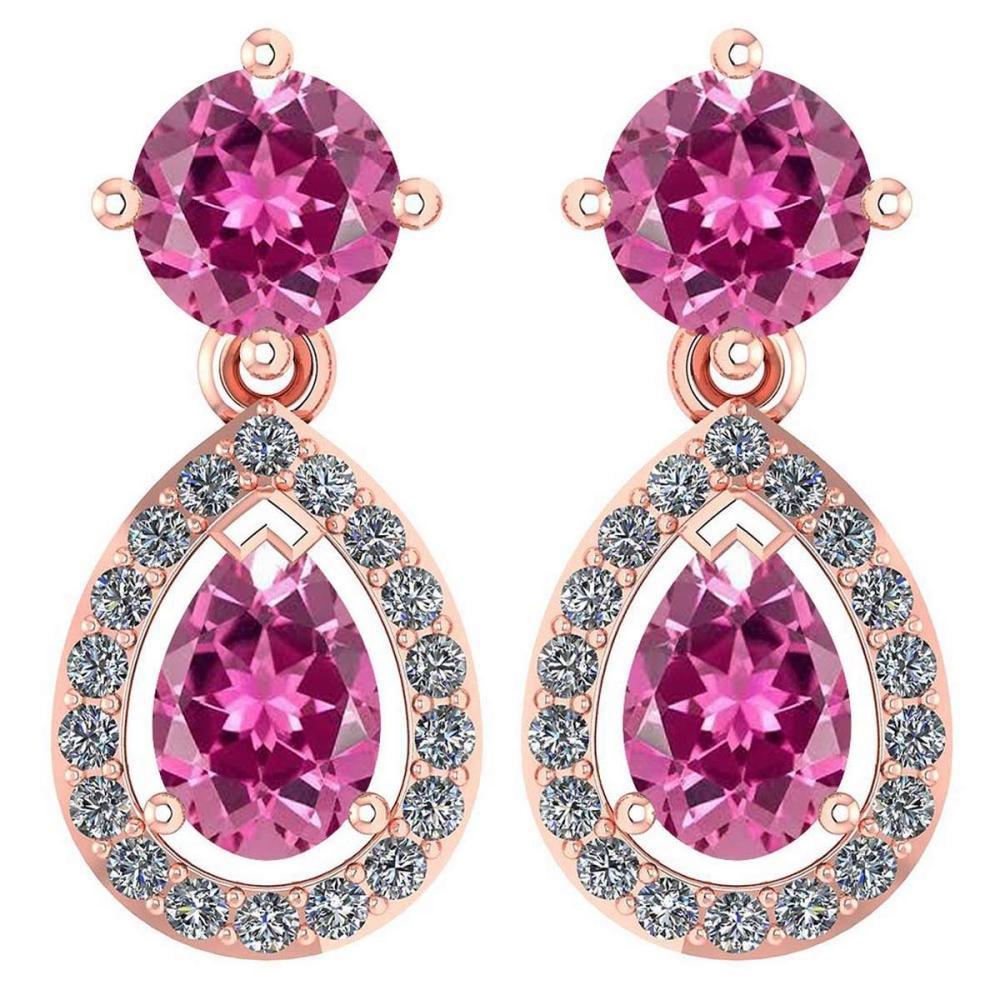 Certified 2.19 CTW Pink Tourmaline And Diamond 14k Rose Gold Halo Dangling Earrings #1AC98736