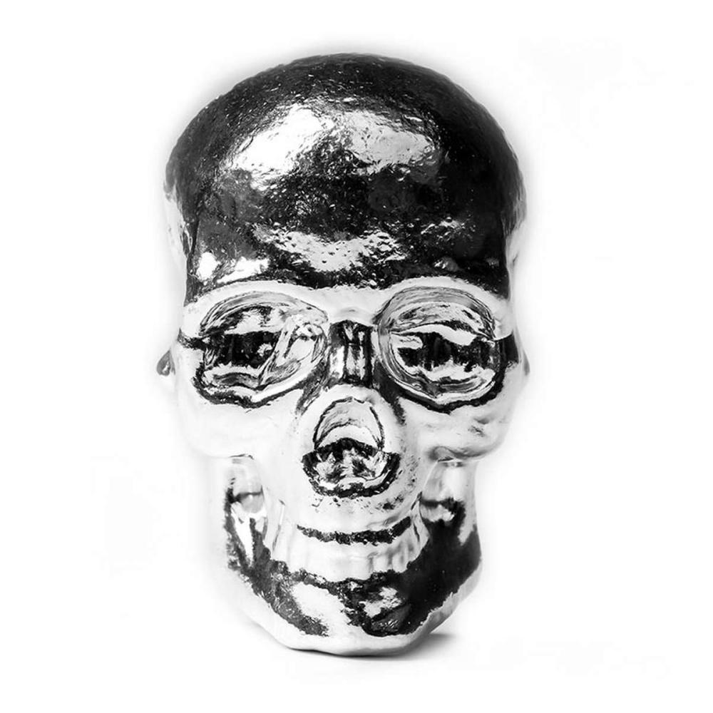 10 oz Atlantis Mint Hand Poured .999 Silver Skull #1AC96551